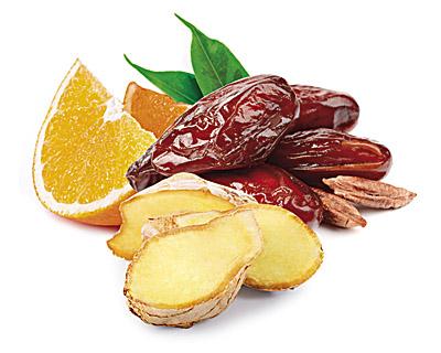 Dattes enrobés de chocolat au gingembre et à l'orange