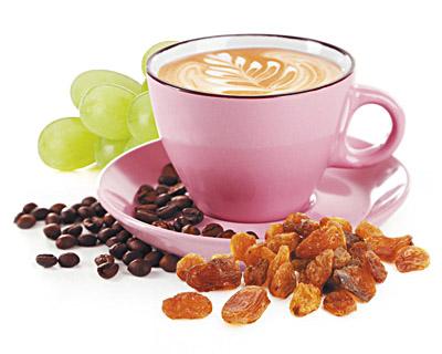 Cappuccino Rosinen in weißer Schokolade