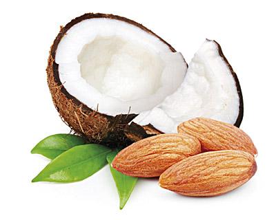 Mandeln in weißer Schokolade mit Kokosnuss